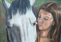 Girl and horse, colored pencil painting by Bonnie Gruenberg
